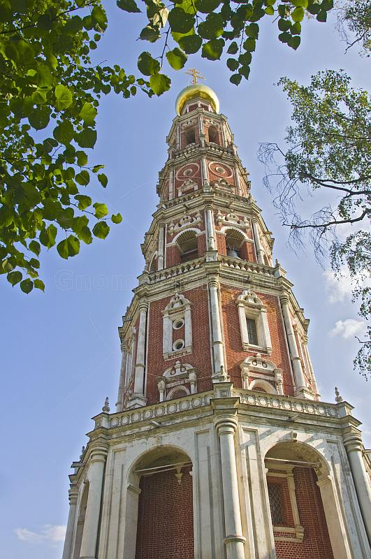 The brick and white-marble Bell Tower, in the Novodevichy Convent.