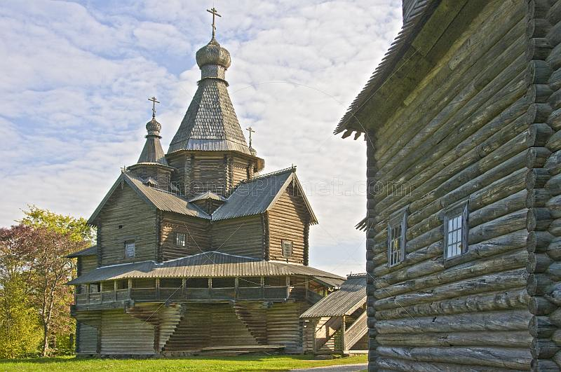 A wooden church in the Vitoslavlitsy Museum of Wooden Architecture.