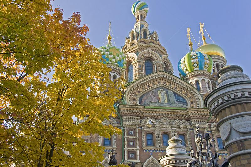 The Church of the Savior on Spilled Blood. Construction began in 1883 as a memorial to Alexander II, who was assassinated here.