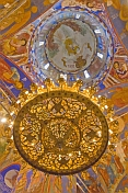 Golden chandelier and ceiling paintings at the Saviour Monastery of St Euthymius.