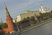 View of the Moscow River and the towers and buildings of the Kremlin from the Bol Kamenny Most.