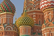 Russia European, Moskovskaya oblast, Moscow. The brightly colored walls and domes of St Basils Cathedral (Pokrovsky Cathedral), in Moscow's Red Square.