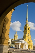 SS Peter and Paul Cathedral, whose 122m-tall, needle thin gilded spire is one of the defining landmarks of the city.
