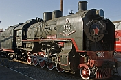Soviet - era steam locomotive at the Museum of Railway Technology.