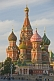Image of The brightly colored walls and domes of St Basils Cathedral (Pokrovsky Cathedral), in Moscow's Red Square.