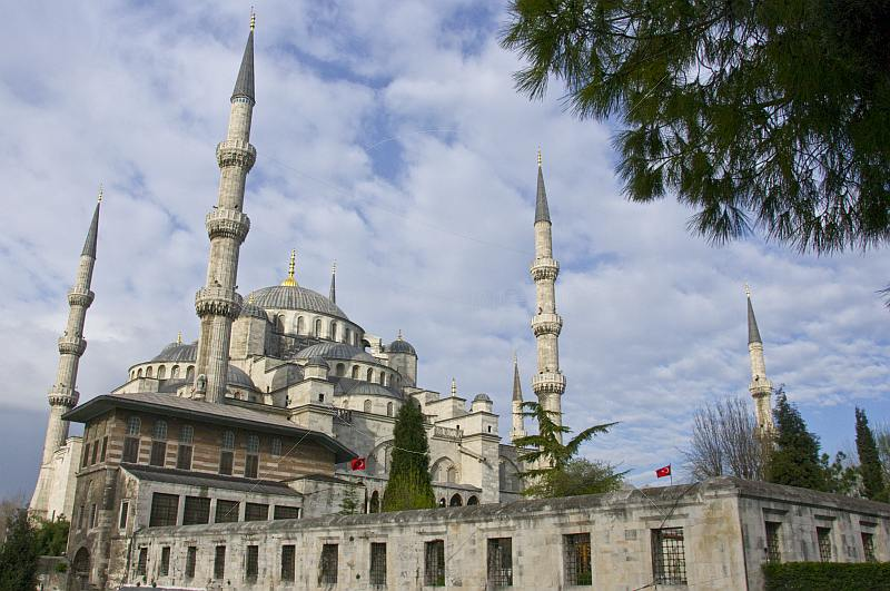 Exterior view in morning sunlight of Sultan Ahmet\\'s blue mosque in Sultanahmet.