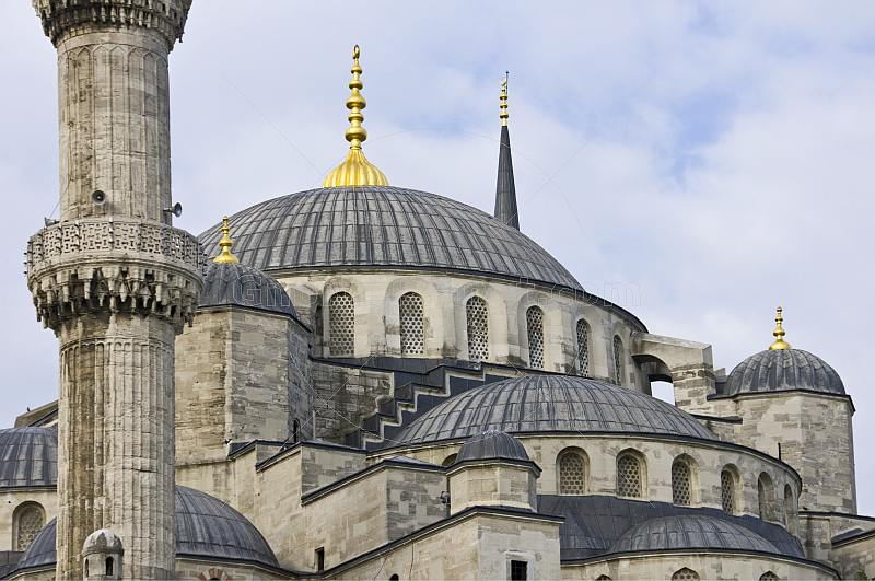 Domes and minarets of Sultan Ahmet\\'s blue mosque in Sultanahmet.