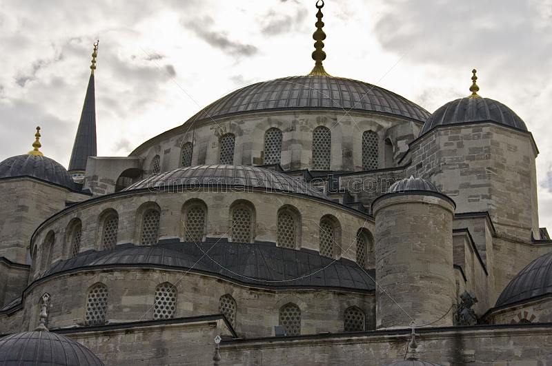 Roof and domes of Sultan Ahmet's blue mosque in Sultanahmet.