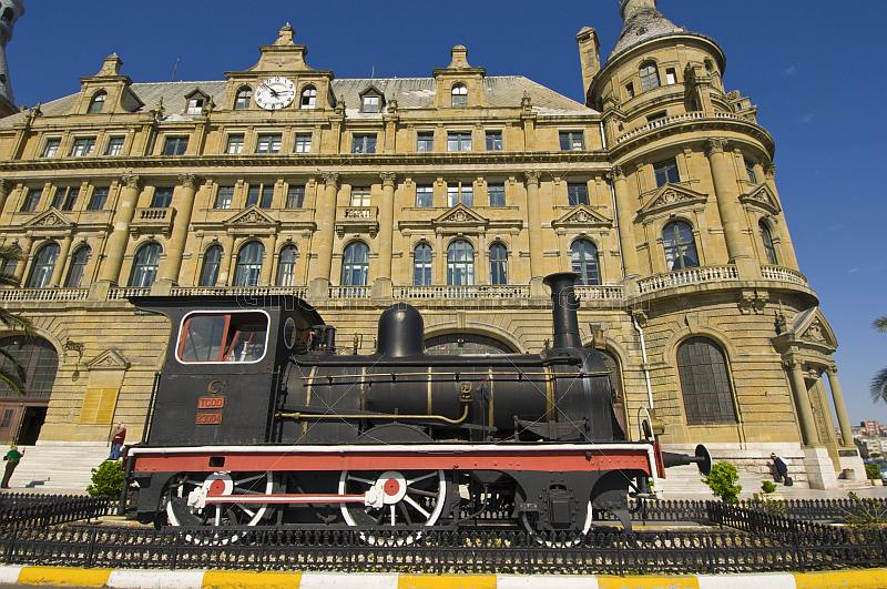 Preserved steam locomotive in front of the Haydarpasa Railway Station, on the Asian side of the Bosphorous at Kadikoy.