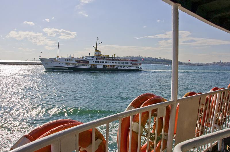 Ferry boat crossing the Bosphorus to Uskudar, on the Asian side.