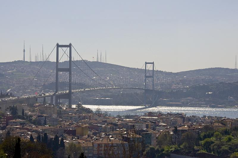 The Bosphorus suspension bridge crosses the divide from Europe to Asia.