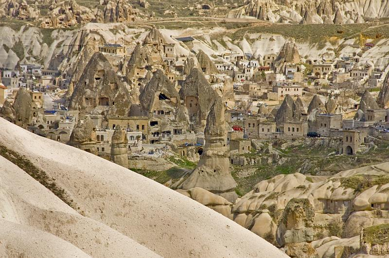 A valley of fairy chimneys and cave dwellings near Uchisar.
