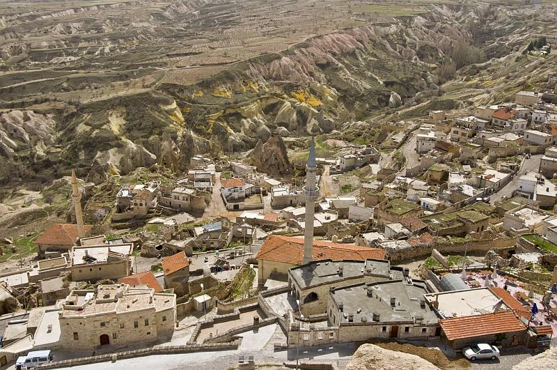 The mosque and minaret dominate the town and valley near Uchisar.