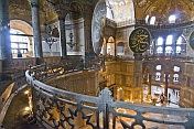 Interior view and domed ceilings of the Aya Sofya in Sultanahmet.