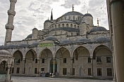 Courtyard, roof, and minaret of Sultan Ahmet\\\\'s blue mosque in Sultanahmet.