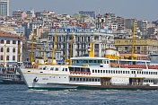 A Bosphorus ferry boat approaches Kadikoy, on the Golden Horn.