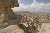 View of the town of Uchisar from the summit of the Uchisar Fairy Castle.