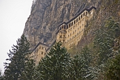 The Sumela Monastery perches high on the side of a mountain.