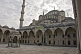 Image of Courtyard, roof, and minaret of Sultan Ahmet's blue mosque in Sultanahmet.