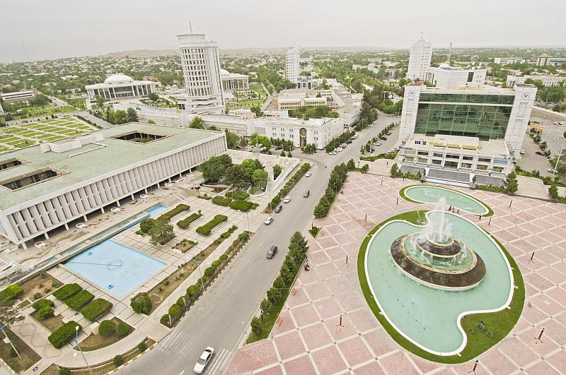 View over central Ashgabat from the Arch of Neutrality.