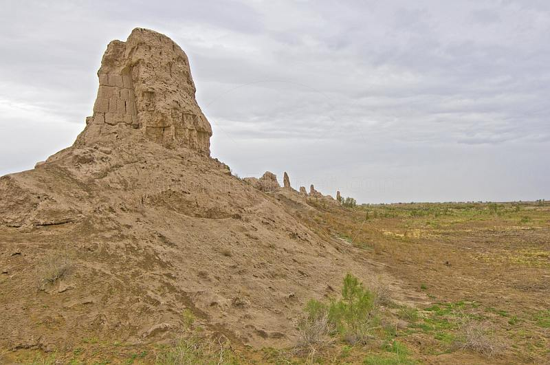 Remains of the Yzmyksir Galasy adobe-walled fort in the desert near Tashauz.