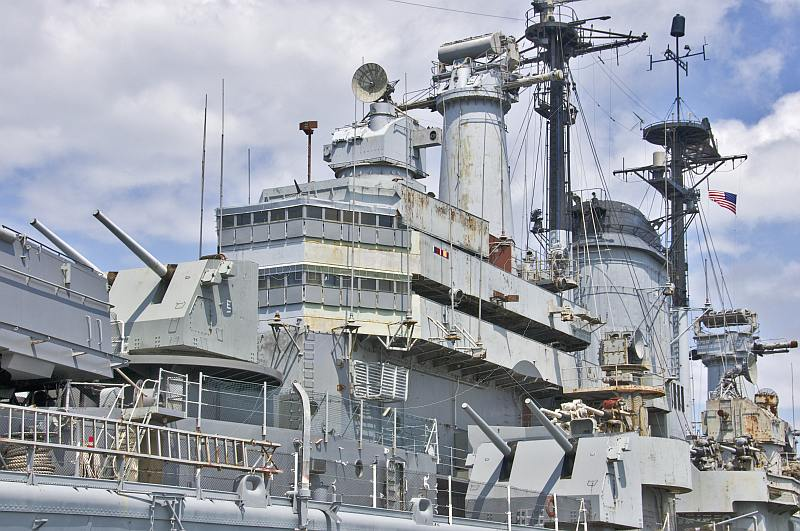 Bridge and midship gun turrets of the preserved battleship USS Salem.