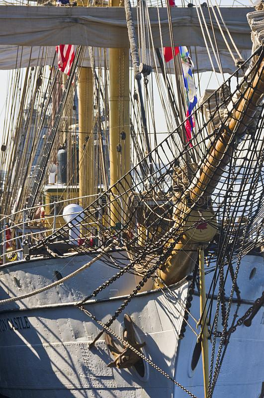 Bows, masts and rigging of the traditional square rigger 'Picton Castle'.