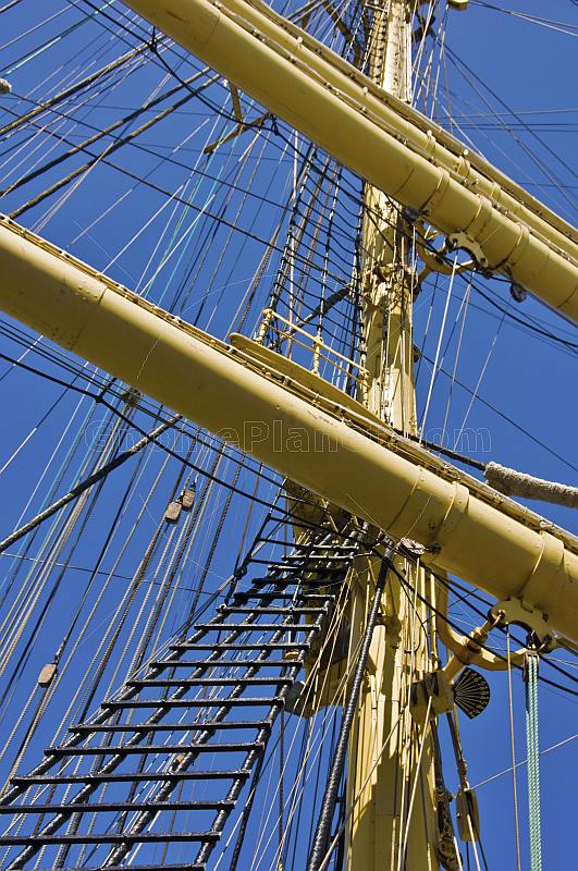 Masts, yards, and rigging of the Russian sailing ship 'Kruzenshtern'.
