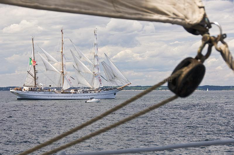 The 3 masted barque 'Sagres' sails off the Massachusetts coast.