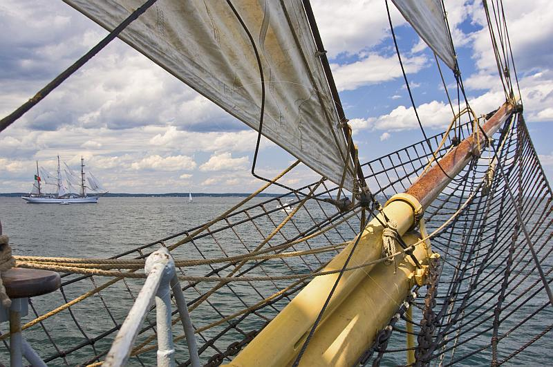 View of the tallship 'Sagres' from the bows of the barque 'Picton Castle'.