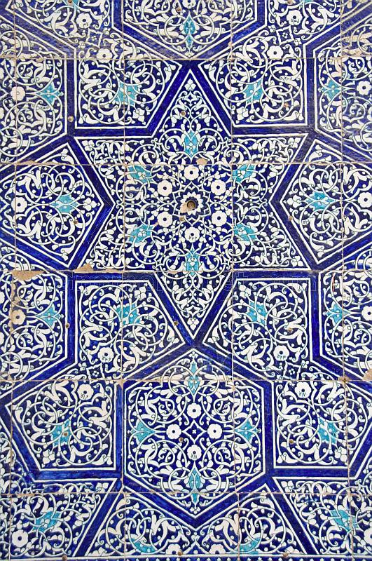 The blue ceramic tile-work of the Tosh-Hovli Palace.