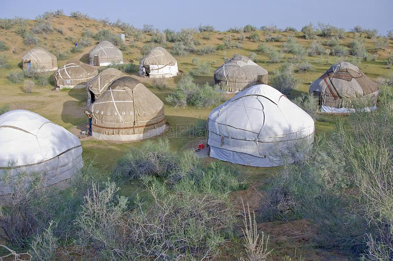 A group of Yurts at the Nuratau-Kyrzylkum Biosphere Reserve.