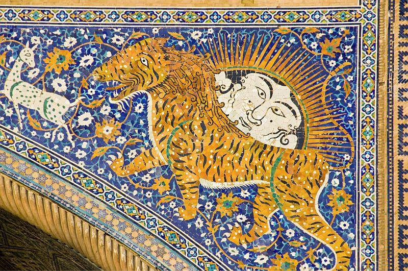 Detail of tiger mosiac on the Sher-Dor Medressa.
