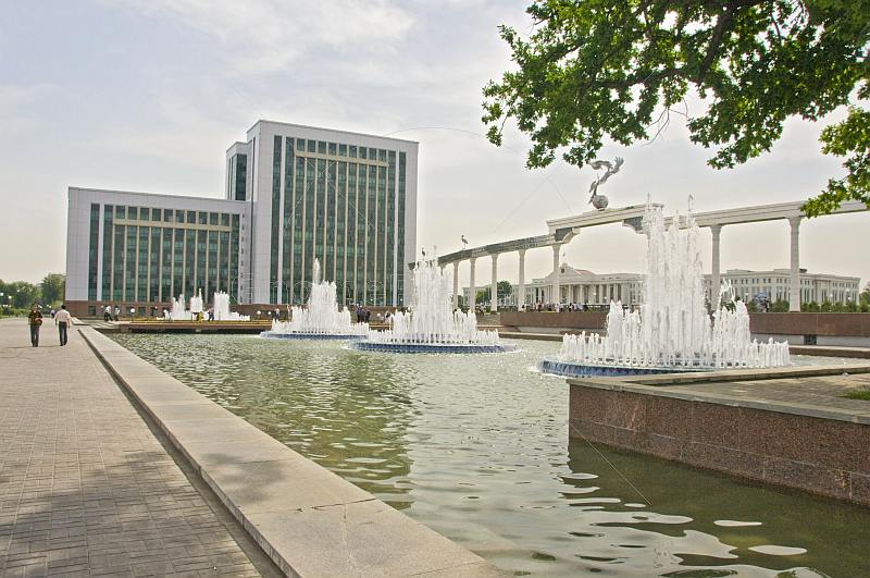 Fountains and Senate building, viewed from Sharat Rashidova street.