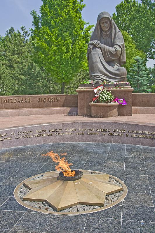 The Crying Mother war memorial with eternal flame which honours the 400,000 Uzbek soldiers who died in WWII.