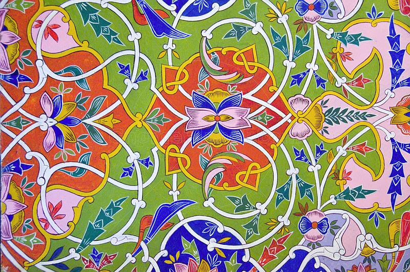 Traditional Uzbek ceiling painting from the Fergana Valley.