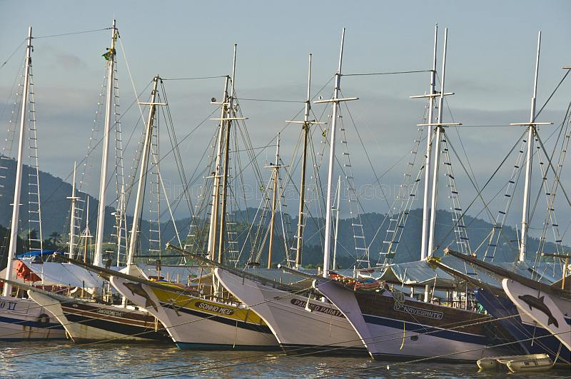 Schooners at anchor in Parati harbor in evening sunlight.