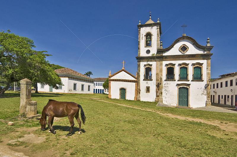 Horse grazes in front of the Igreja Santa Rita dos Pardos Libertos built in 1722.