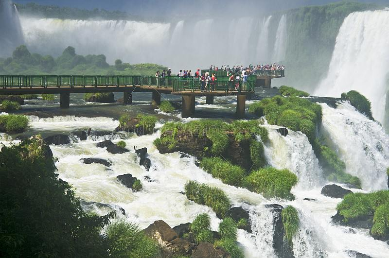 Visitor viewing walkway at the Iguazu Falls.