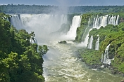 Multiple waterfalls and jungle along the Iguazu River.