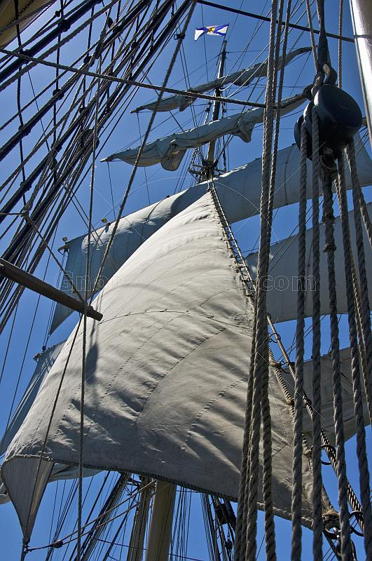 Rope sails and rigging of the tallship 'Picton Castle'.