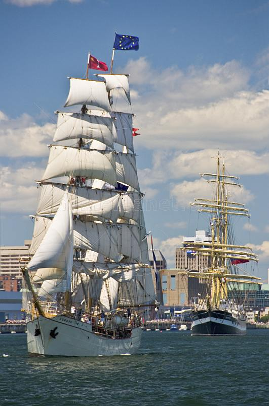 The tallship 'Europa' leaves her waterfront berth in Halifax harbor.