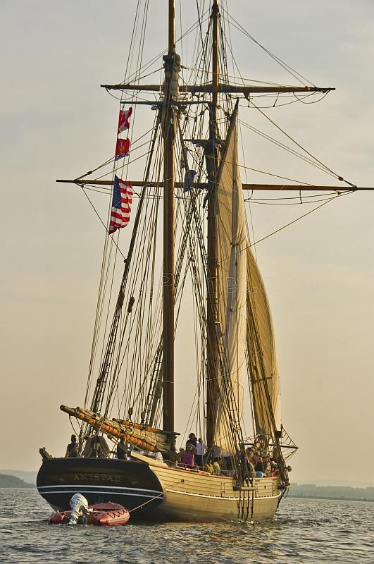 The tallship 'Amistad' takes an evening cruise in Pictou Harbour.
