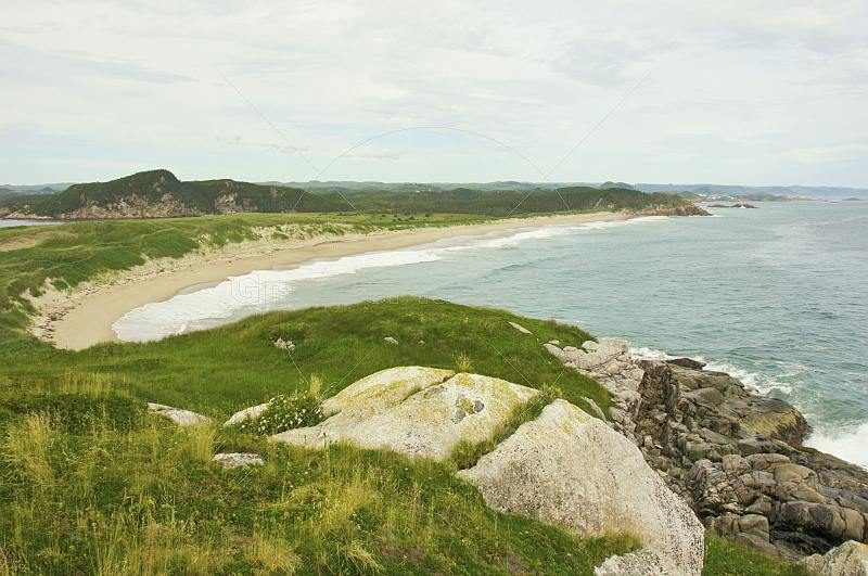 View over the grassy headland to beaches and forested hills at Sandbanks Provincial Park.