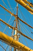 Masts ropes yards and rigging on the tallship 'Picton Castle'.