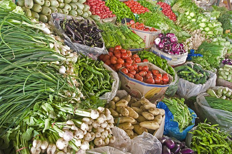 A colourful range of vegetables for sale at the market.