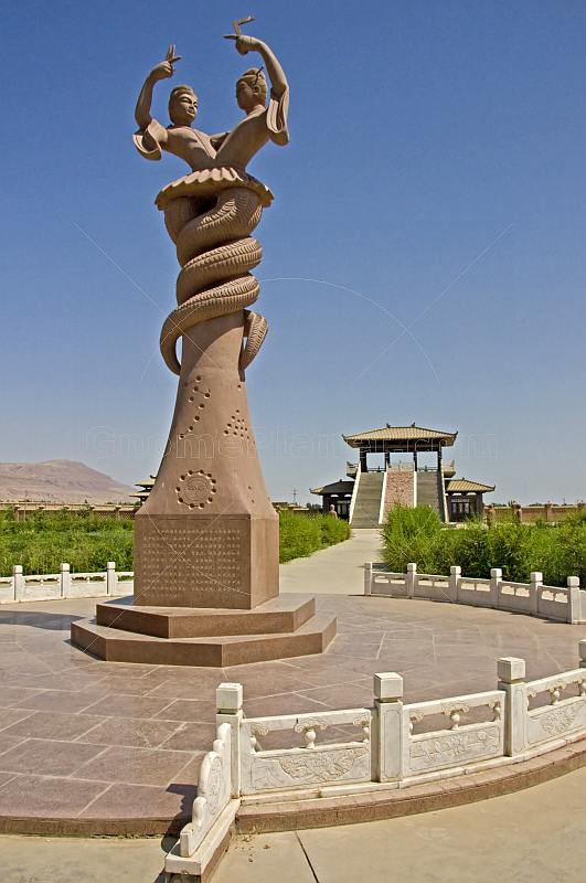 Snake statue at the Astana Graves near Turpan.