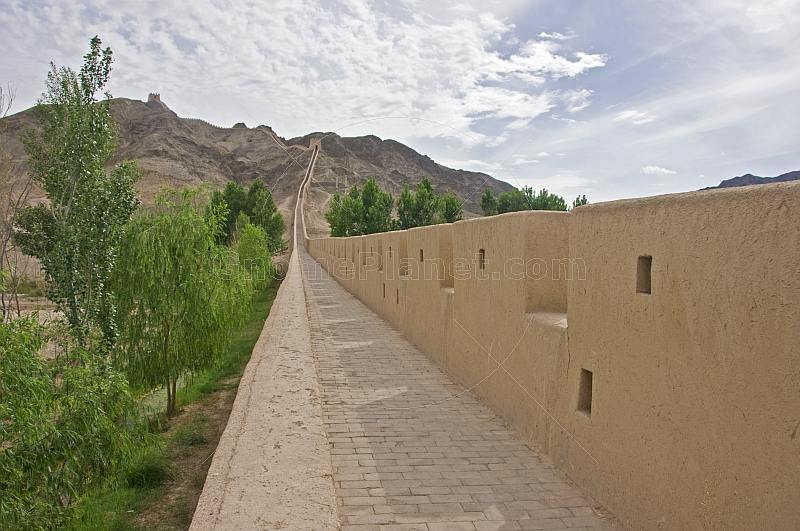 Looking along the reconstructed Great Wall of China at the Shiguan Gorge, near Jiayuguan.