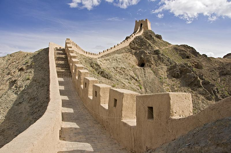 Looking along the battlements of the reconstructed Great Wall of China at the Shiguan Gorge, near Jiayuguan.