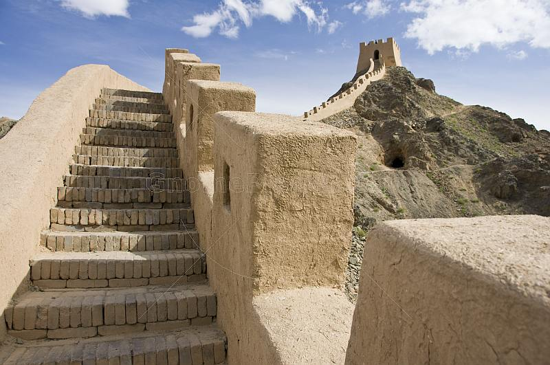 Looking along the battlements of the reconstructed Great Wall of China at the Shiguan Gorge, near Jiayuguan..